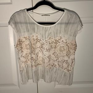 Zara Soft Lace Cotton Top size M